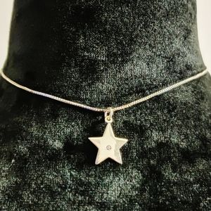 Sterling Silver Star Pendant Necklace Choker